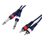 CABLE AUDIO 2x RCA MACHO LR  2x MONO JACK 635mm 3m