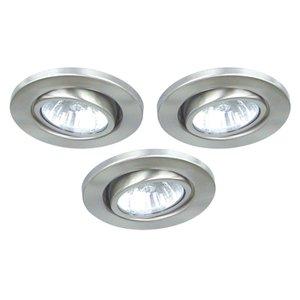 3x lamparas halogenas empotrables techo acero gu10 230v